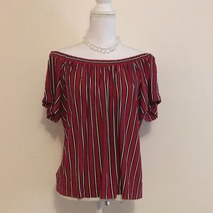 LOFT Sexy Off the Shoulder Striped Red Blouse sz S